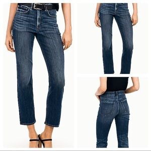 EXPRESS High Waisted Medium Wash Straight Leg Jean